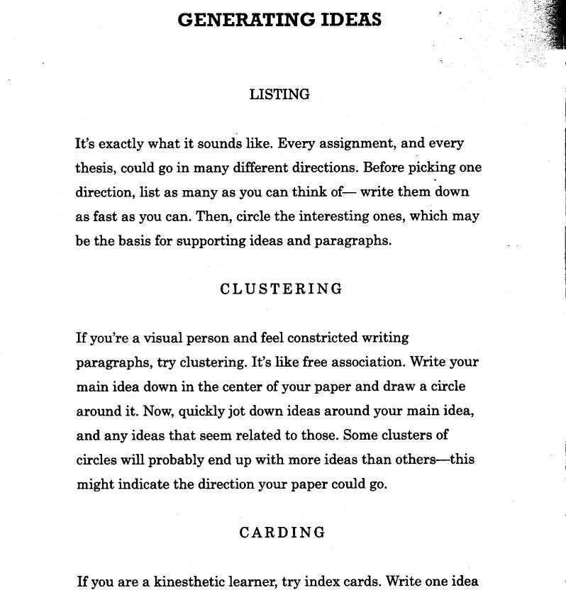Ways Of Writing Generating Ideas